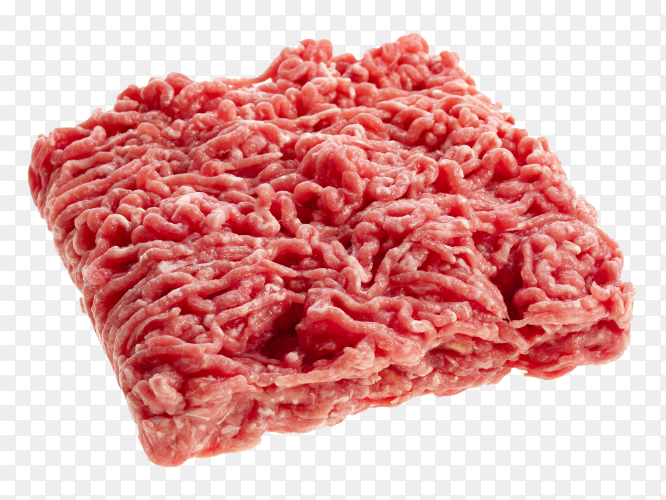 Fresh minced meat ready for cooking on transparent background PNG