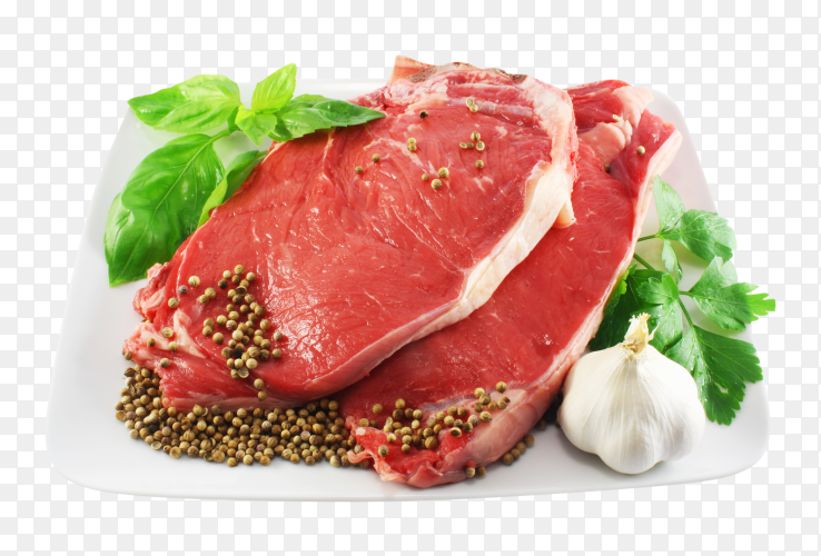 Fresh slices meat with herbs and vegetables on transparent background PNG