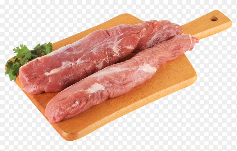 Fresh uncooked meat on wooden board on transparent PNG