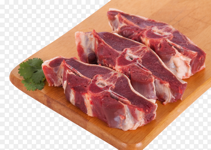 Fresh uncooked meat on wooden board on transparent background PNG