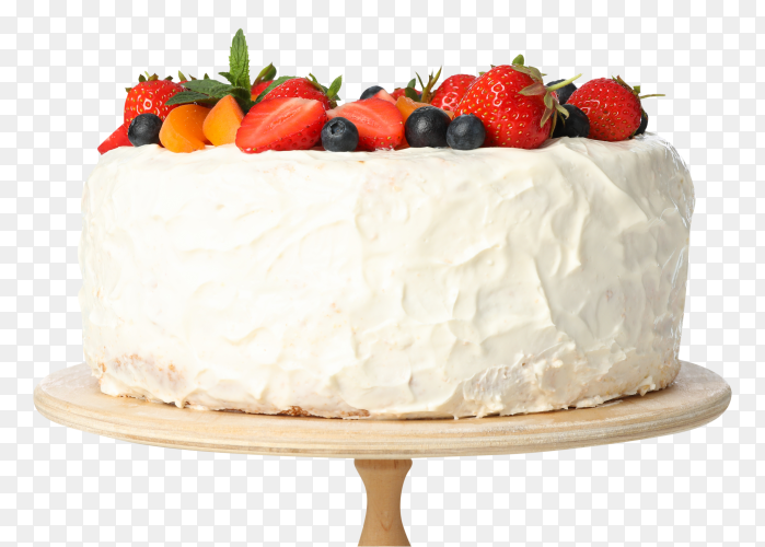 Fruit cake with vanilla cream on wooden stand on transparent background PNG