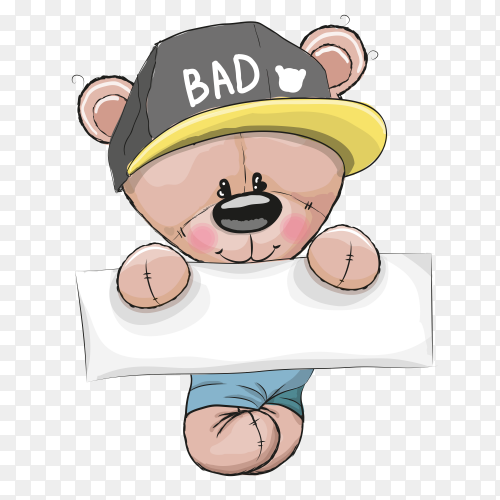 Funny cartoon beer teddy Premium vector PNG