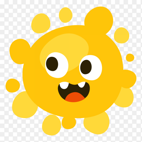 Funny cartoon sun on transparent background PNG