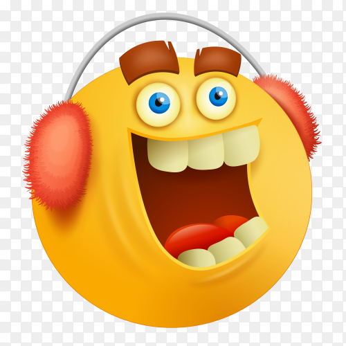 Funny emoji face with in red Headphone Premium vector PNG