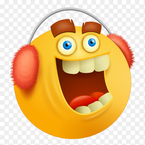 Funny emoji face with in red Headphone on transparent background PNG