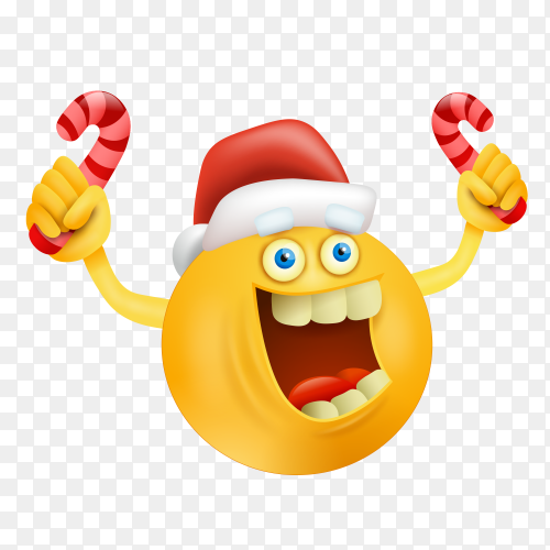 Funny emoji face with santa hat Premium vector PNG