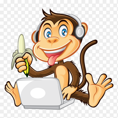 Funny monkey eating banana on transparent background PNG