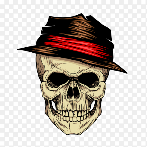 Gangster skull wearing hat like boss Clipart PNG