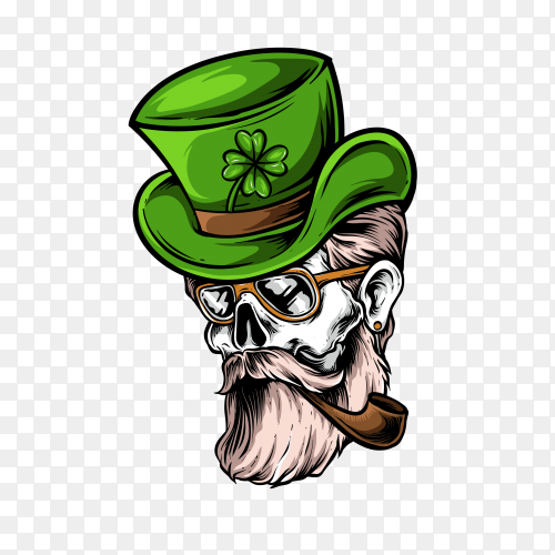 Gentlemen with green hat on transparent background PNG