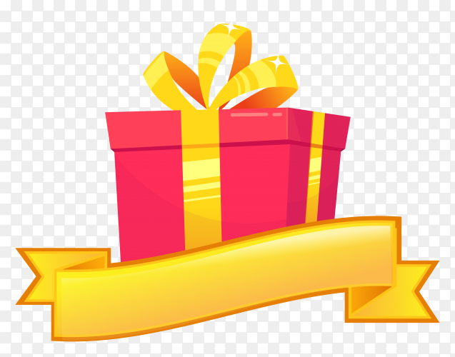 Gift box greeting card for birthday vector PNG