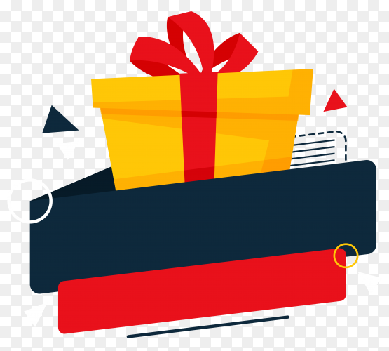 Gift box with banner vector PNG