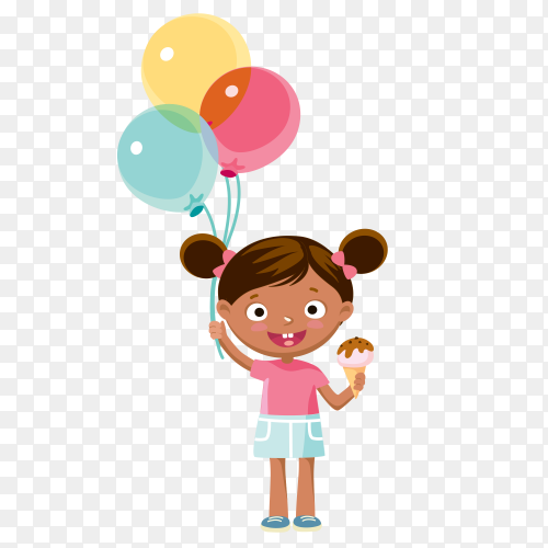 Girl holding balloons and eating ice cream on transparent background PNG