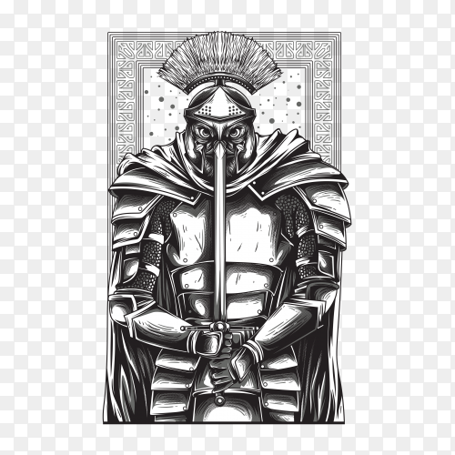 Gladiator warrior with black and white Illustration on transparent background PNG