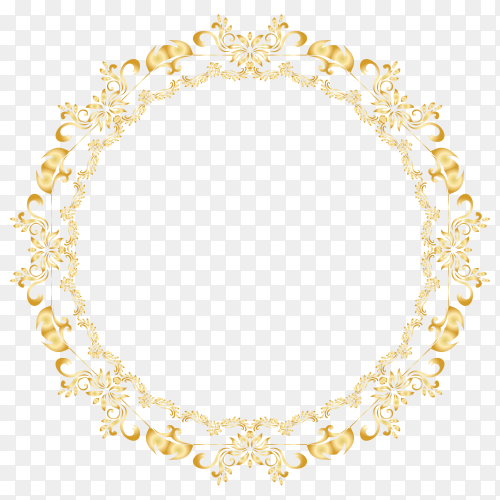 Gloden Floral circle frame on transparent background PNG