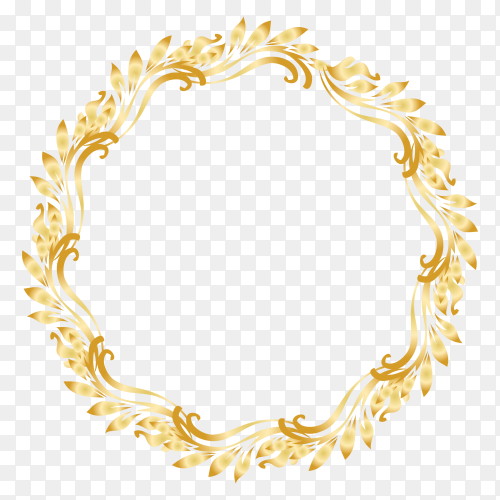 Gold circle frame design on trsndparent background PNG