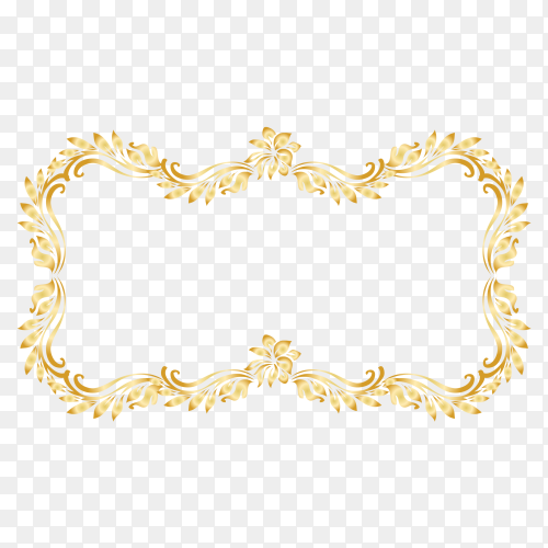 Gold frame on transparent background PNG