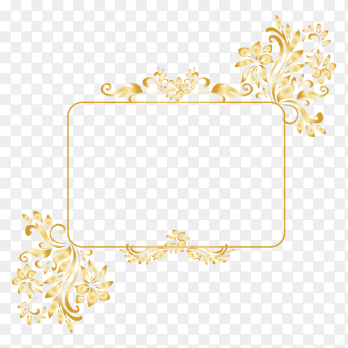 Gold frame with flower on transparent background PNG