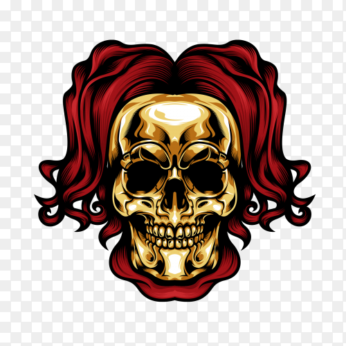 Gold head skull Premium vector PNG