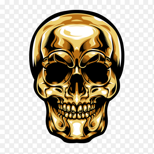 Gold head skull on transparent backround PNG