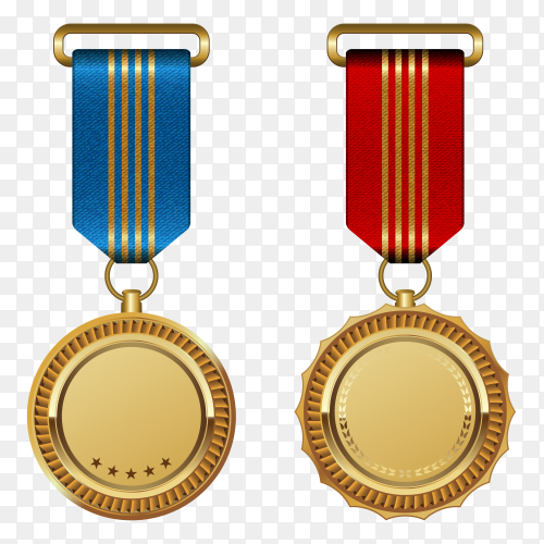 Gold medals with Ribbon on transparent background PNG