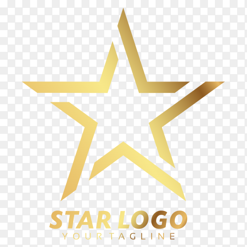 Gold star logo on transparent background PNG