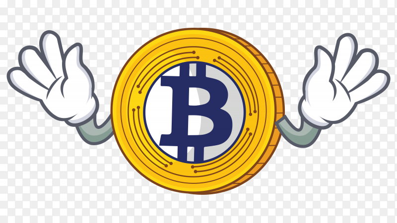 Golden Bitcoin character cartoon vector PNG