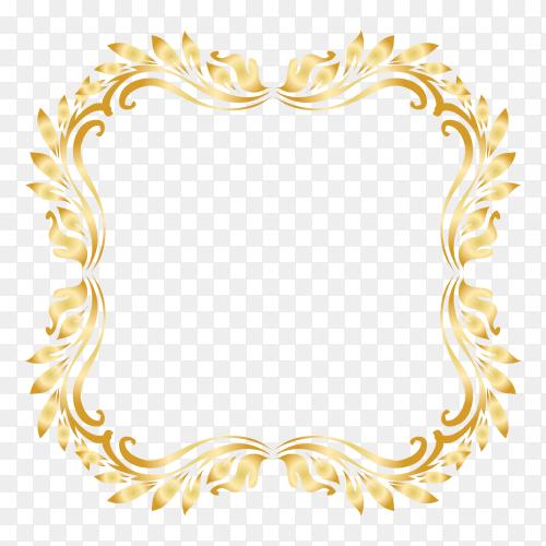 Golden Border Frame premium vector PNG