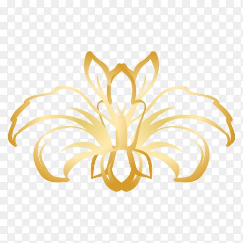 Golden Decorative floral Clipart PNG