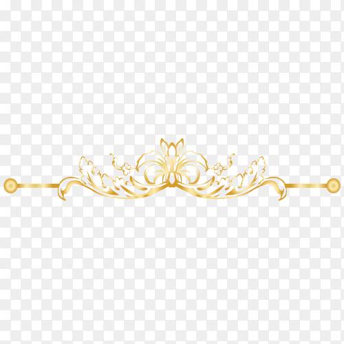 Golden Decorative floral on transparent PNG