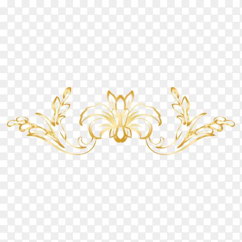Golden Decorative floral on transparent background PNG