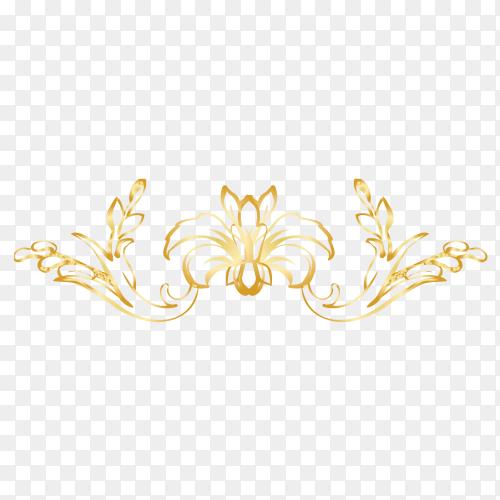 Golden Decorative floral premium vector PNG