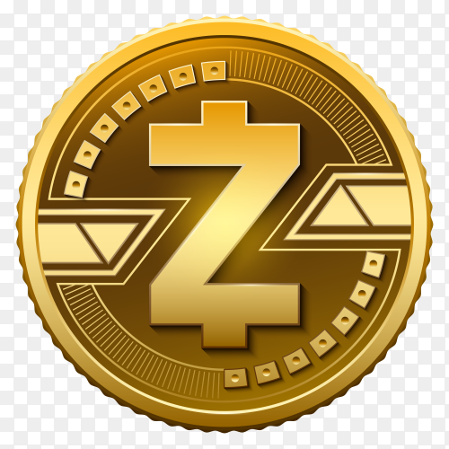 Golden Zcash  on transparent background PNG