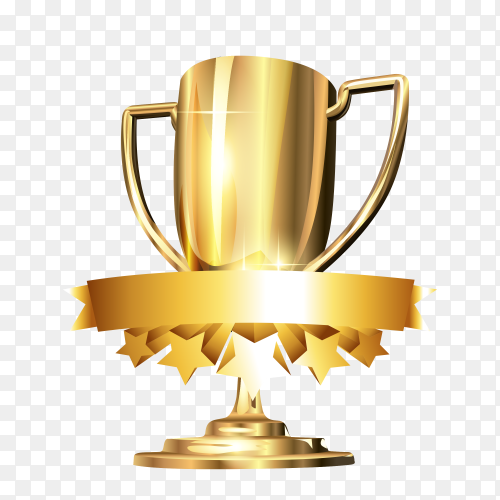 Golden award trophy isolated on transparent PNG