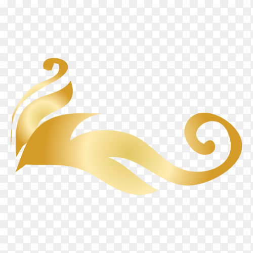 Golden decorative floral design Clipart PG