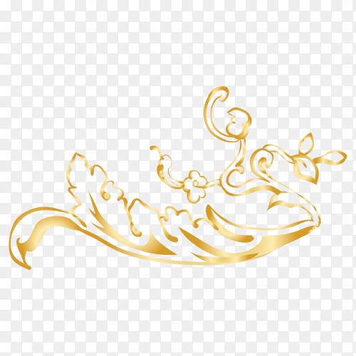 Golden decorative floral design on transparent PNG