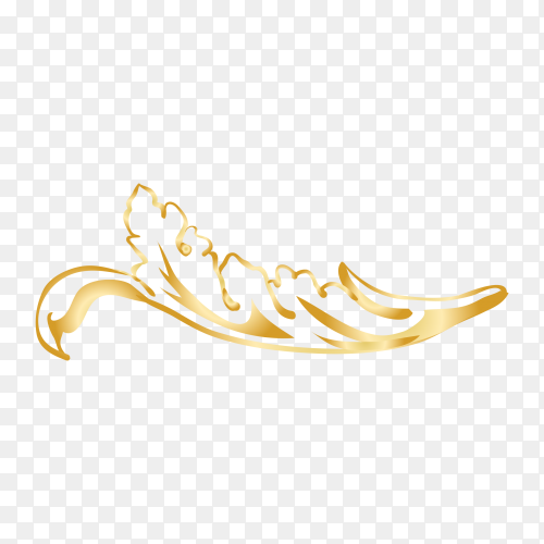 Golden decorative floral design on transparent background PNG