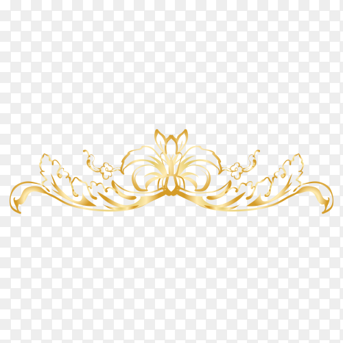 Golden decorative floral design premium vector PNG