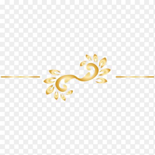 Golden decorative floral design vector PNG