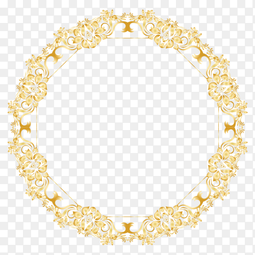 Golden floral circle frame premium vector PNG
