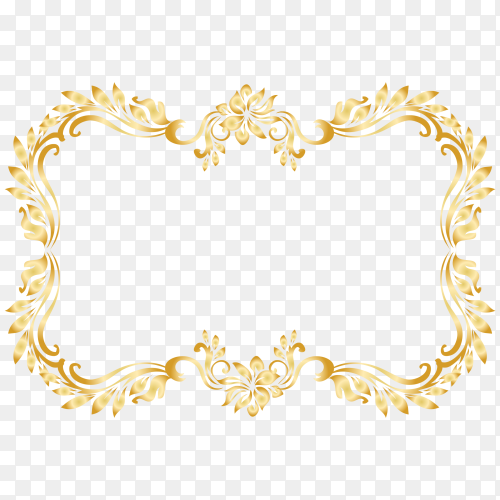 Golden frame design on transparent PNG