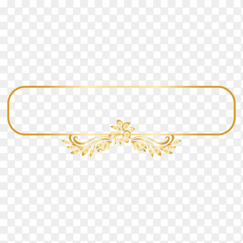 Golden ornamental frame on transparent PNG