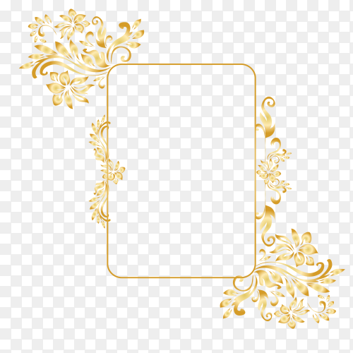Golden ornamental frame on transparent background PNG