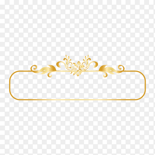 Golden ornamental frame premium vector PNG