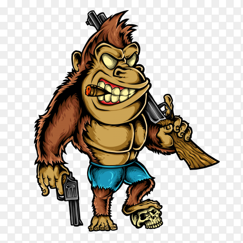 Gorilla cartoon Character on transparent background PNG
