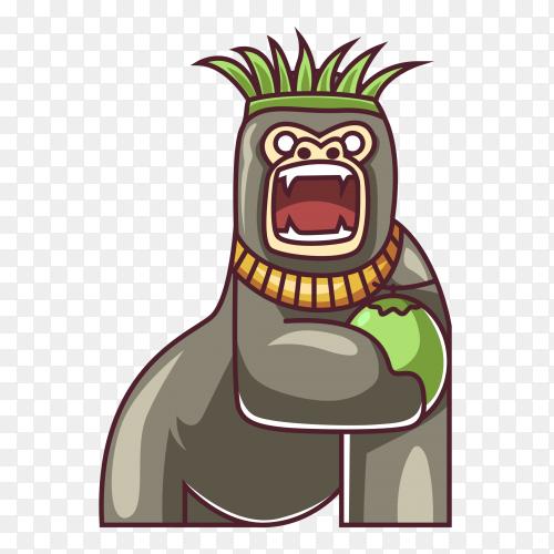 Gorilla eat cocounut on transparent background PNG