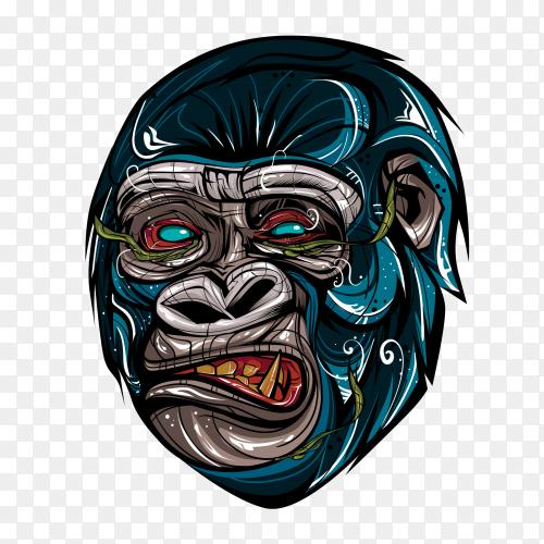 Gorilla illustration on transparent background PNG