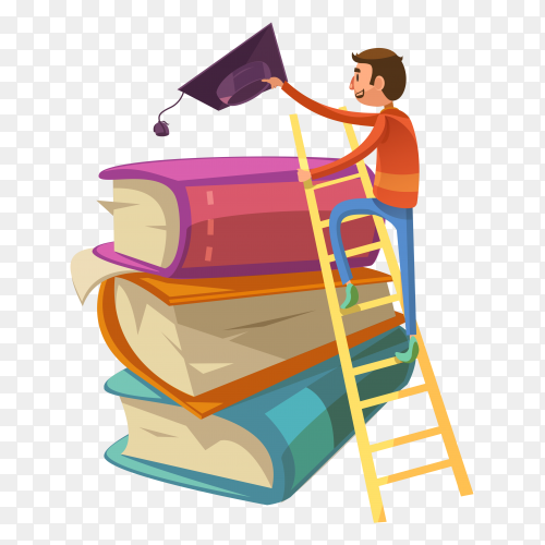 Graduation student with books design clipart PNG
