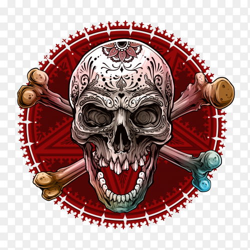 Graphic human skull with pentagram star on transparent background PNG