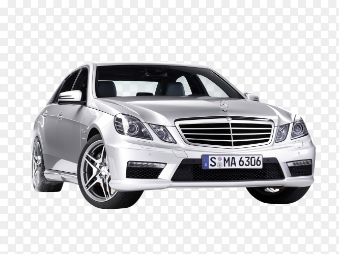 Gray Mercedes car on transparent background PNG