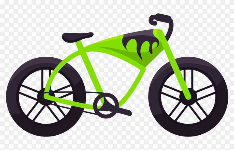 Green bicycle on transparent background PNG